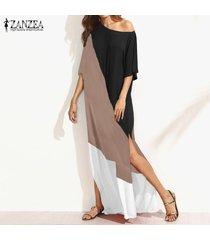2017 zanzea mujeres de gran tamaño de manga corta cuello redondo kaftan vestido de verano de mujeres remiendo de empalme del partido del club del vestido largo maxi (color4) -negro