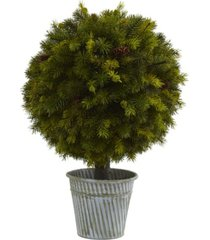 "nearly natural 23"" pine ball in iron top"