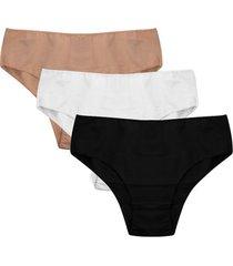 kit 3 calcinhas altas femininas com algodão