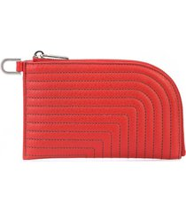 rick owens contrast stitched wallet - red