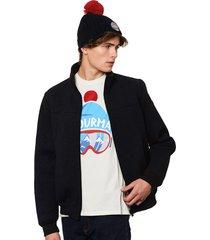 ribbed knit blue jacket