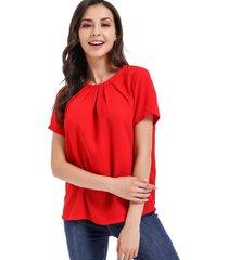 blusa pliegues cuello rojo nicopoly