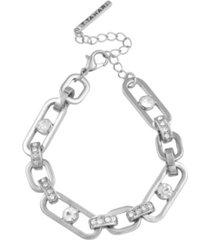 t tahari women's link and crystal bracelet