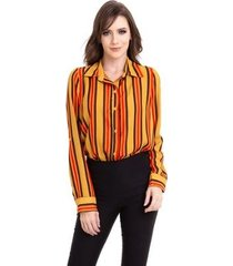 camisa kinara crepe chiffon listras manga martingale feminina