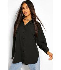 katoenmix oversized blouse met knopen, zwart