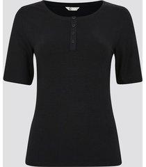 ribbad t-shirt med knappar - svart