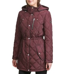 dkny women's diamond quilted anorak - loden - size xs