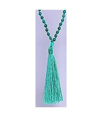 onyx long pendant necklace, 'green tassel trends' (india)
