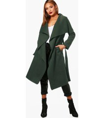 belted waterfall coat, olive