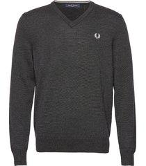 classic merino v/n stickad tröja v-krage grå fred perry