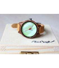 damski drewniany zegarek rainbow green