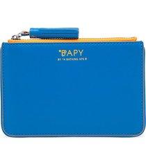 bapy by *a bathing ape® tassel-zip leather pouch - blue