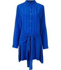eva silk shirt dress - blue