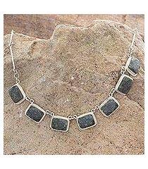 dark green jade pendant necklace, 'maya forest princess' (guatemala)