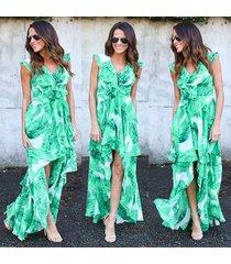 banana leaves print women's boho summer vestidos sexy ruffles dress sleeveless
