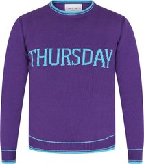 alberta ferretti purple girl sweater with light blue writing
