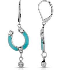 2028 silver-tone enamel with crystal accents horsehoe drop earrings