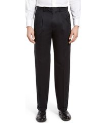 men's big & tall nordstrom men's shop classic smartcare(tm) supima cotton pleated dress pants, size 42 x 36 - black