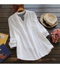 zanzea ocasional de las mujeres de manga larga blusa del algodón camiseta botón perder hasta tapa de la túnica -blanco