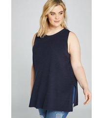 lane bryant women's sleeveless sweater tunic 10/12 night sky