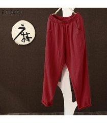 s-5xl zanzea pantalones de harén para mujer piernas anchas pantalones casuales de gran tamaño tallas grandes -rojo