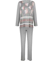 pyjama naturana grijs gemêleerd/ecru/blush