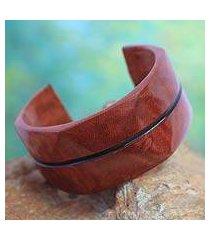 leather cuff bracelet, 'wend konta in cinnamon' (ghana)