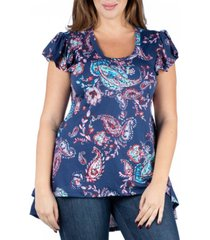 24seven comfort apparel women's plus size paisley cap sleeve high low tunic top