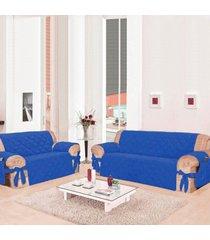 kit 2 capas para sofã¡: 2 e 3 lugares com 21 elã¡sticos casa dona azul - incolor - dafiti