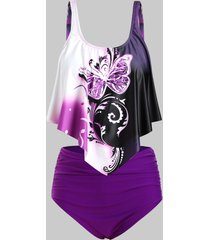 butterfly print overlay flounces ruched high waisted plus size tankini swimsuit