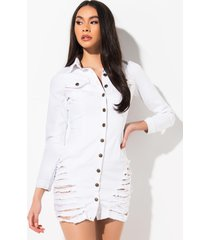 akira jump in long sleeve denim mini dress