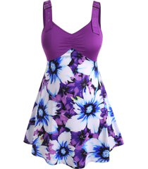 floral buckle straps gathered front plus size tank top