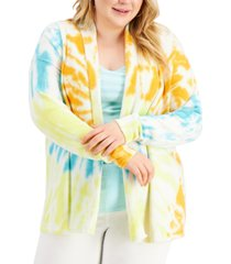 style & co plus size tie-dye open-front cardigan, created for macy's