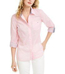 tommy hilfiger striped button-down top, created for macy's
