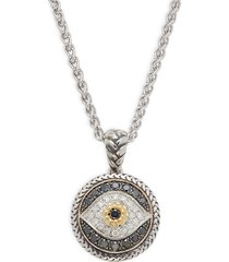 effy eny women's sterling silver & 18k yellow gold, black & white diamond evil-eye pendant necklace