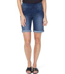 women's nydj roll cuff pull-on denim shorts, size 00 - blue