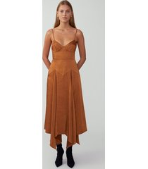 butterscotch cupped godet dress