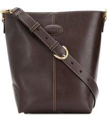 tod's bolsa tiracolo de couro pequena - marrom