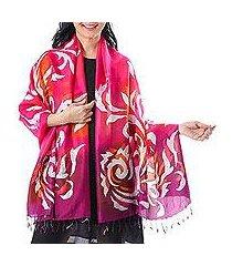 batik silk shawl, 'fascinating dance' (thailand)
