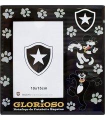 porta retrato minas de presentes 1 foto 15x10cm vidro - botafogo preto