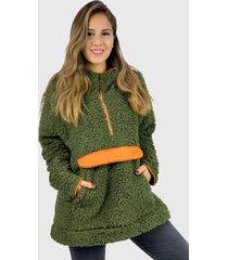 abrigo corderito boho chic verde enigmática boutique