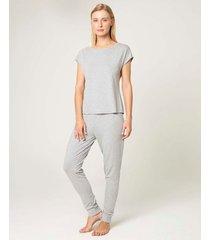pijama jogging em viscose mescla malwee liberta cinza claro - exx