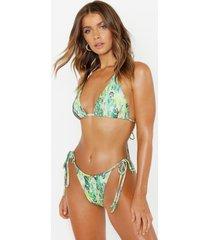 neon snake triangle bikini, green