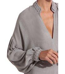 camisa rosa chá lordy 2 crepe cinza mescla feminina (mescla, gg)