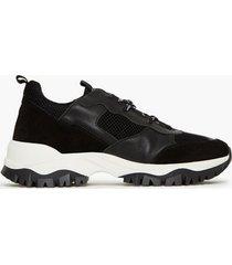 jim rickey trekk run - mesh / suede / leather sneakers black/white