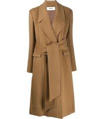 chalayan wrap belt coat - brown