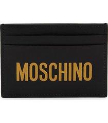 moschino women's logo leather card case - black white