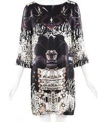 mary katrantzou printed silk shift dress beige/purple sz: m