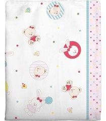 cobertor incomfral ursinha para beb㪠90cm x 1.10m branco/rosa - branco - menina - dafiti
