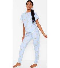 pyjama set met giraf met kauwgom, blue